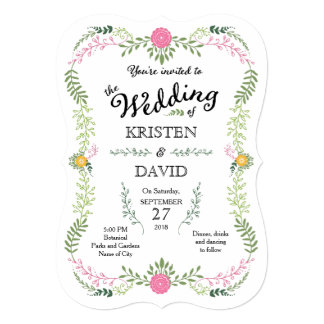Rustic Bohemian Spring Foliage Wreath Wedding Card