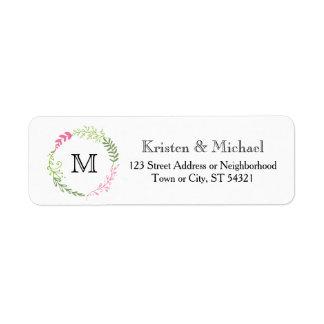 Rustic Bohemian Spring Foliage Wreath Wedding Return Address Label