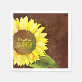 Rustic Bohemian Sunflower Bridal Shower Napkins Paper Napkins