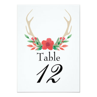 Rustic Boho Antlers and floral table number card