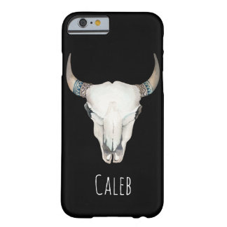 Rustic Boho Bohemian Cow Skull Custom Personalized Barely There iPhone 6 Case