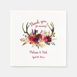 Rustic Boho Burgundy Floral antlers wedding decor Napkin