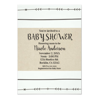 Rustic Boho Chic Baby Shower Modern Kraft Minimal Card