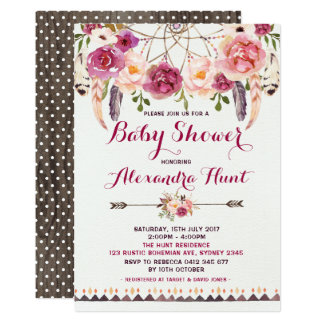 Rustic Boho Dreamcatcher Baby Shower Invitation