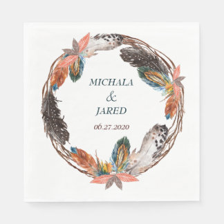 Rustic Boho Feather Wreath Wedding Paper Napkin