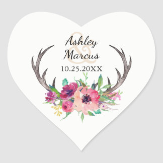 Rustic Boho Floral Antlers Wedding Heart Sticker