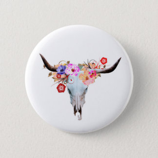 Rustic Boho Floral Longhorn Skull 2 Inch Round Button