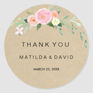 Rustic Boho Floral Thank You Wedding Sticker