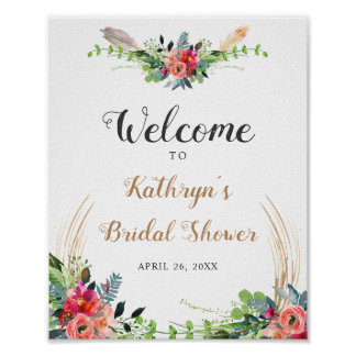 Rustic Boho Floral Watercolor Bridal Shower Sign