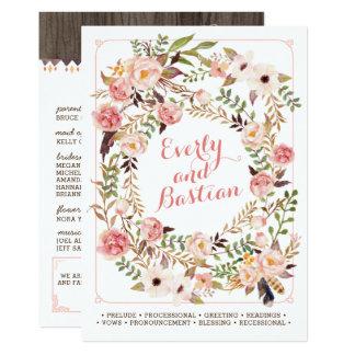 Rustic Boho Floral Watercolor Wedding Programs