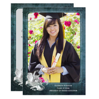 Rustic Boho Graduation Photo Portrait Thank You Card