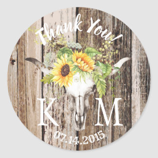 Rustic Boho Longhorn Sunflower Thank You Wedding Classic Round Sticker