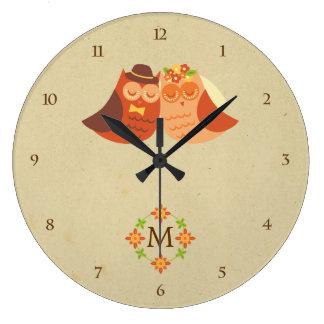 Rustic Boho Lovebird Owl Couple Clocks