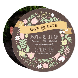 """Rustic Boho Pastel Flower Photo Save the Date 5.25"""" Square Invitation Card"""