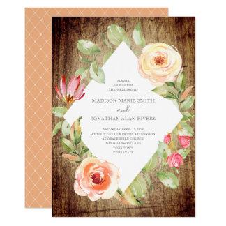Rustic Boho Spring Floral Diamond Peach Wedding Card