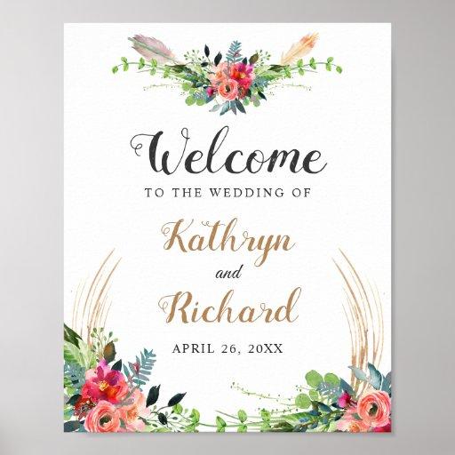 Rustic Boho Watercolor Floral Wedding Sign