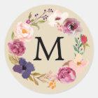 Rustic Boho Watercolor Floral Wreath Monogram Classic Round Sticker