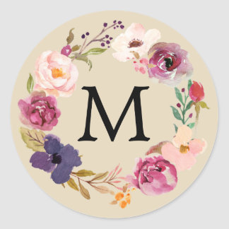 Rustic Boho Watercolor Floral Wreath Monogram Classic Round Sticker