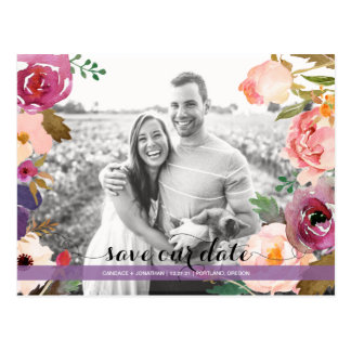Rustic Boho Watercolor Flowers Photo Save the Date Postcard