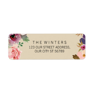 Rustic Boho Watercolor Flowers Wedding Return Address Label