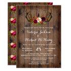 Rustic Boho Wedding Invitation with deer antlers