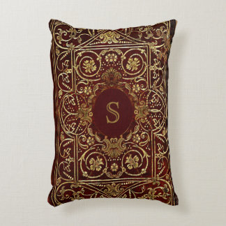 Rustic Book Cover Cushion Gilded Leather Monogram