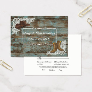 Rustic Boots & Lace Wedding RSVP Card
