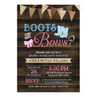 Rustic Boots or Bows Gender Reveal Baby Shower Card