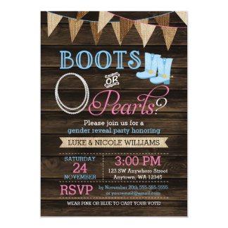 Rustic Boots or Pearls Gender Reveal Baby Shower Card