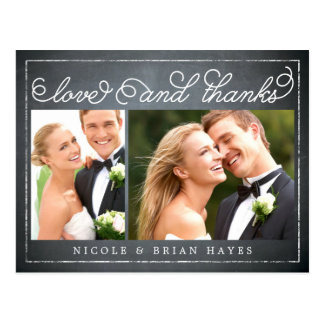 Rustic Border Wedding Thank You Card - Chalkboard Postcard