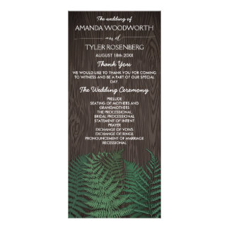 Rustic Botanical Fern Woodland Wedding Programs Full Color Rack Card