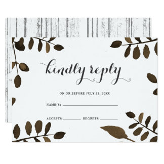 Rustic Botanical Leaves and Wood Wedding RSVP Card