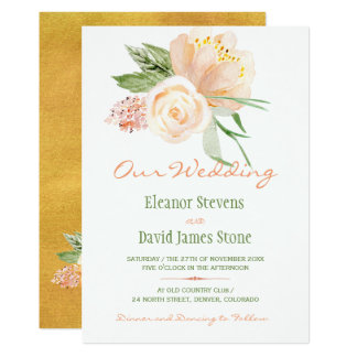 Rustic botanical watercolor peony bouquet wedding card