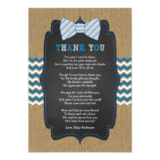 Rustic Bow Tie Baby shower poem thank you note Card