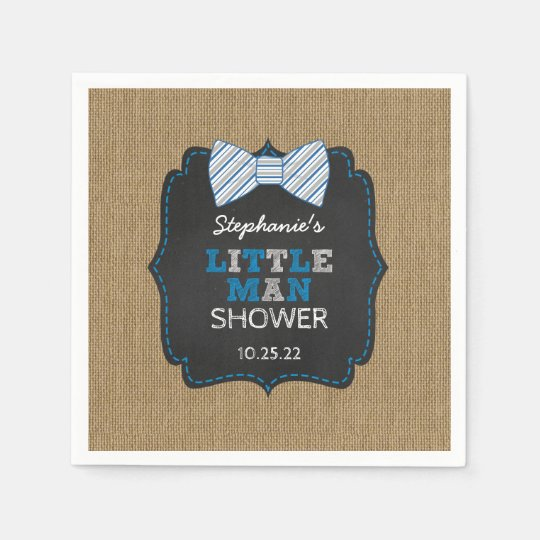 Rustic Bow Tie Little Man Oh Boy baby shower decor Paper Napkin