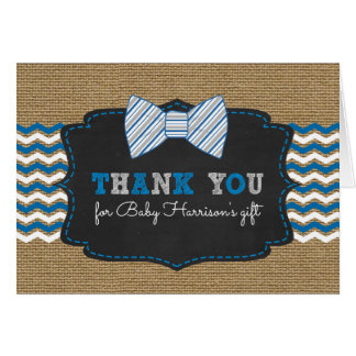 Rustic Bowtie baby shower thank you with poem Card