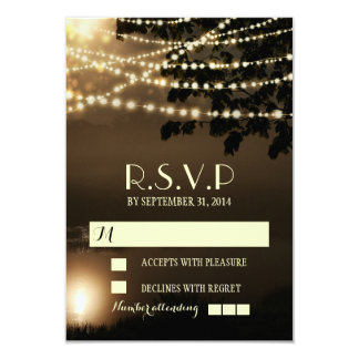 Rustic branches lights wedding RSVP cards