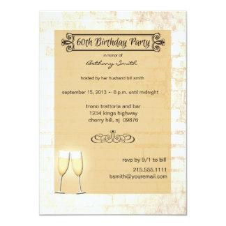 Rustic Brick 60th Birthday Party Invitation