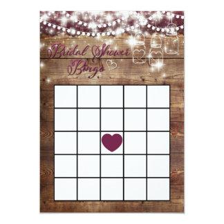Rustic Bridal Shower Bingo Game Merlot Card