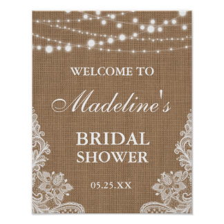 Rustic Bridal Shower Burlap String Lights Lace Poster