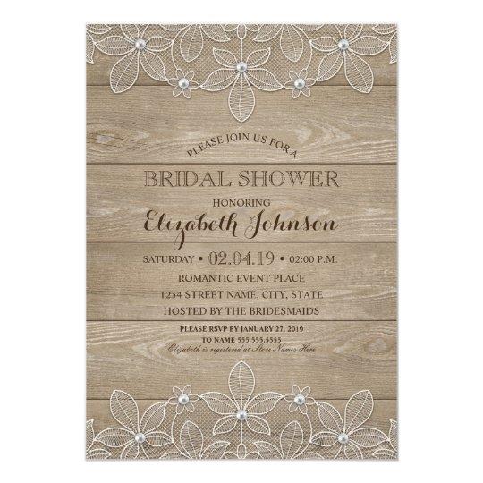 Rustic Bridal Shower Elegant Vintage Wood & Lace Card
