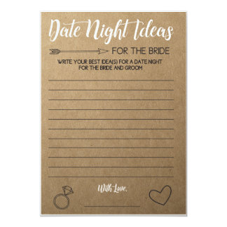 Rustic Bridal Shower Game- Date Night Ideas Card