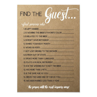 Rustic Bridal Shower Game- Match the Movie Songs Card