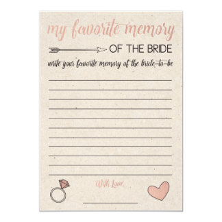 Rustic Bridal Shower Game- My Favorite Memory Card