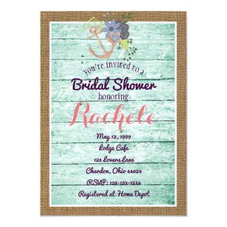 Rustic Bridal Shower Invitation w Anchor & Burlap