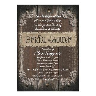 Rustic Bridal Shower Invitation - Wood Backgroun