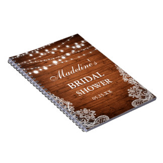 Rustic Bridal Shower Wood Lights Lace Gift List Notebooks