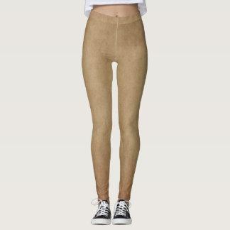 Rustic Brown Abstract Art Leggings Yoga Pants