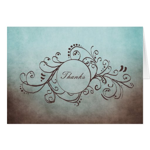 Rustic Brown and Teal Bohemian Thank You Note Greeting Cards