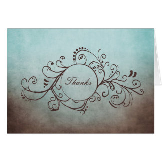 Rustic Brown and Teal Bohemian Thank You Note Note Card